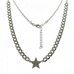Gargantilla plata Ley 925m mujer 40 cm. barbada 5 mm. combinada rolo motivo estrella centro 15 mm.