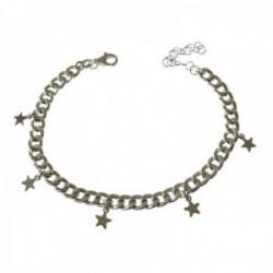 Pulsera plata Ley 925m mujer 16.5 cm. barbada estrellas lisas colgantes 5 mm. mosquetón