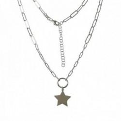 Gargantilla plata Ley 925m mujer 39 cm. forzada alargada aro combinado estrella colgante 15 mm.