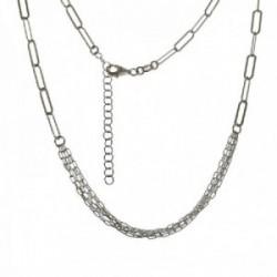 Gargantilla plata Ley 925m mujer 40 cm. forzada alargada combinada cuatro cadenas mosquetón