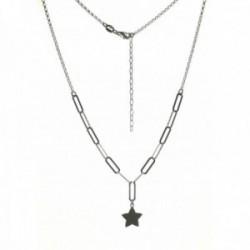 Gargantilla plata Ley 925m mujer 40 cm. forzada combinada rolo estrella colgante 10 mm. mosquetón