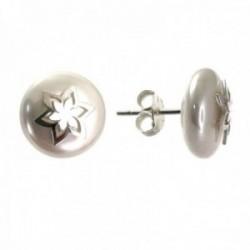 Pendientes plata Ley 925m mujer 10 mm. perla combinada estrella centro presión