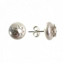 Pendientes plata Ley 925m mujer 10 mm. perla combinada centro flor presión