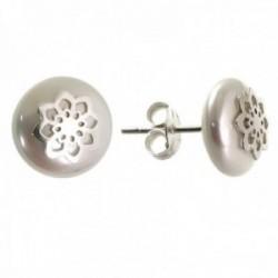 Pendientes plata Ley 925m mujer 12 mm. flor centro combinada perla presión