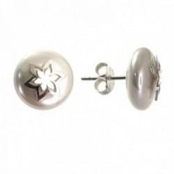 Pendientes plata Ley 925m mujer 12 mm. perla combinada forma estrella centro presión