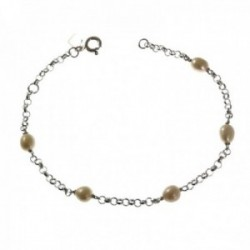 Pulsera plata Ley 925m mujer 19 cm. cadena rolo combinada perlas reasa