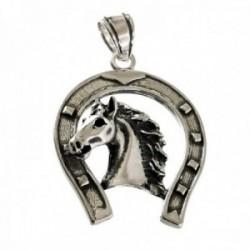 Colgante plata Ley 925m hombre 3 cm. herradura combinada cabeza caballo