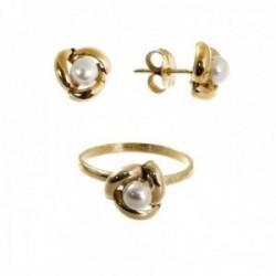 Juego plata Ley 925m chapado oro Primera Comunión sortija pendientes forma perla 8 mm. centro