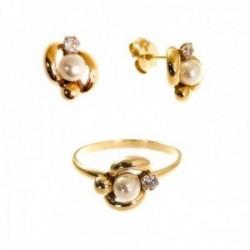 Juego plata Ley 925m chapado oro Primera Comunión sortija pendientes forma perla 10 mm. circonita