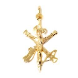 Cristo de la Legión colgante plata Ley 925m macizo 44 mm. chapado oro 2 micras liso