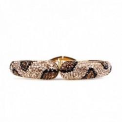Brazalete pulsera Lola Casademunt acero inoxidable dorado cristales leopardo