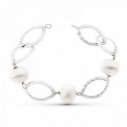 Pulsera oro blanco 18k mujer 18 cm. eslabones ovalados calados combinados perlas cultivadas 14 mm.