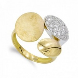 Sortija oro bicolor 18k mujer formas combinadas mate brillo circonitas