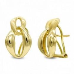 Pendientes oro 18k mujer mate brillo formas ovaladas combinadas omega