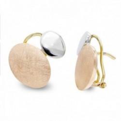Pendientes oro bicolor 18k mujer formas ovaladas lisas rayadas combinadas omega