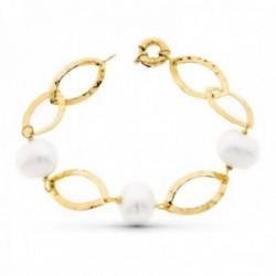 Pulsera oro 18k mujer 18 cm. formas ovaladas caladas perlas cultivadas 15 mm. timón