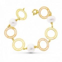Pulsera oro bicolor 18k mujer 21 cm. aros calados combinados perlas cultivadas 15 mm. timón