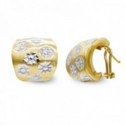 Pendientes oro bicolor 18k mujer detalles estrellas combinadas liso omega