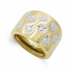 Sortija oro bicolor 18k mujer liso combinado estrellas circonitas
