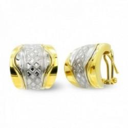 Pendientes oro bicolor 18k mujer barra central detalles combinada liso omega