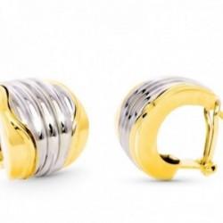 Pendientes oro bicolor 18k mujer 18 mm. lisos combinados detalles centrales omega