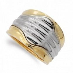 Sortija oro bicolor 18k mujer detalles líneas horizontales
