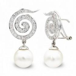 Pendientes oro blanco 18k mujer largos espiral circonitas combinada perlas omega