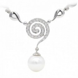 Gargantilla oro blanco 18k mujer espiral colgante circonitas combinadas perla 10 mm.