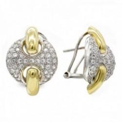 Pendientes oro bicolor 18k mujer redondos circonitas combinados calados formas lisas omega