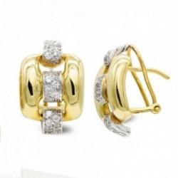 Pendientes oro bicolor 18k mujer cuadrados combinados rectángulos circonitas omega