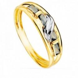 Sortija oro bicolor 18k mujer aguamarina combinada circonitas