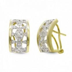 Pendientes oro bicolor 18k mujer calados combinados circonitas omega