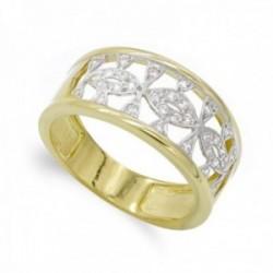 Sortija oro bicolor 18k mujer circonitas caladas formas combinadas