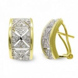 Pendientes oro bicolor 18k mujer circonitas combinadas detalles centro omega