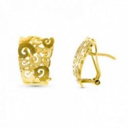 Pendientes oro 18k mujer 18 mm. motivos flores caladas omega