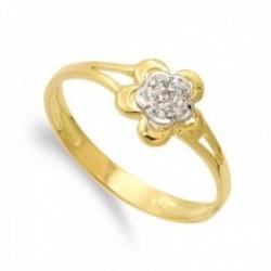 Sortija oro bicolor 18k forma flor centro lisa combinada circonitas