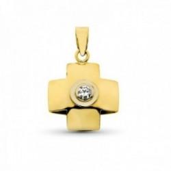 Cruz colgante oro 18k mujer 18 mm. lisa combinada circonita centro