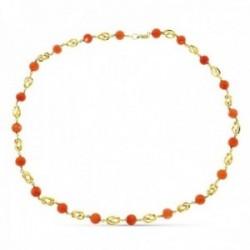Gargantilla collar oro 18k mujer 60 cm. jaulas combinadas coral japonés 2 mm.