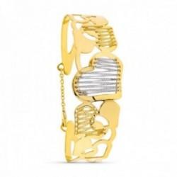 Brazalete pulsera oro bicolor 18k mujer corazones combinados cadenas