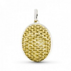 Colgante oro bicolor 18k mujer calado ovalado