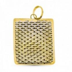 Colgante oro bicolor 18k mujer rectangular 36 mm. calado formas