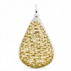 Colgante oro bicolor 18k mujer forma gota malla calada formas