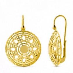 Pendientes oro 18k mujer largos redondos calados formas combinadas