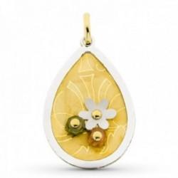 Colgante oro bicolor 18k mujer 44 mm. forma gota detalles flor combinada piedras color