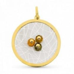 Colgante oro bicolor 18k mujer 43 mm. detalles combinados piedras color centro bordes lisos