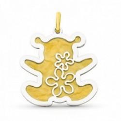 Colgante oro bicolor 18k mujer forma oso mate brillo liso combinado flores caladas