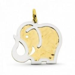 Colgante oro bicolor 18k mujer 36 mm. elefante liso