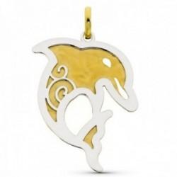 Colgante oro bicolor 18k mujer 45 mm. delfín detalles
