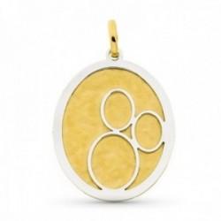 Colgante oro bicolor 18k mujer ovalado liso combinado círculos calados