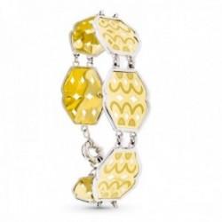 Pulsera oro bicolor 18k mujer eslabones formas combinadas detalles mate brillo timón